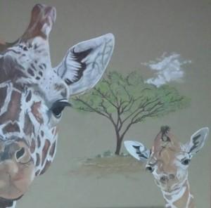 Afrikaanse giraffen 50 x 50 cm te koop